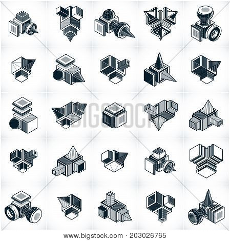Abstract vectors set isometric dimensional shapes collection.