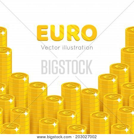 Gold euro piles cartoon template. Stacks of gold euro template for designers and illustrators. Pattern of gold pieces in the form of a vector illustration