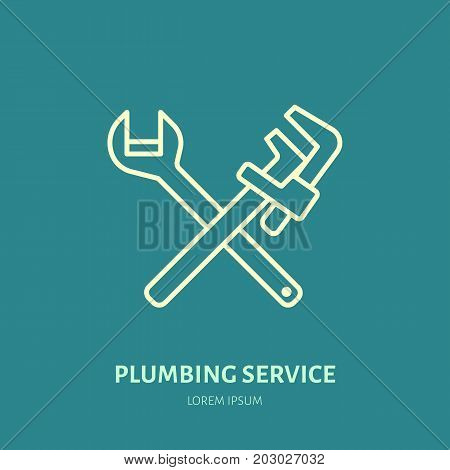 Plumbing vector flat line icon. Repair service logo. Illustration of wrench, plunger, plumber tools.