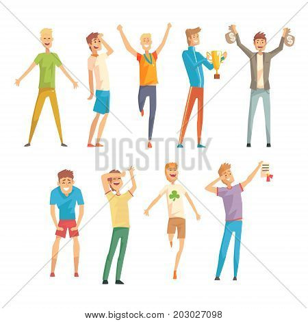 Successful men in casual and sportswear enjoying their luck set, young men standing and jumping with joy vector Illustrations on a white background