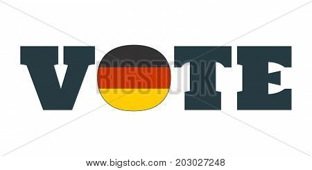 Vote word with Germany national flag. Vector illustration