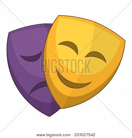 Theater masks icon. Cartoon illustration of theater masks vector icon for web