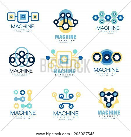 Learning machine label original design set of vector Illustrations on blue colors on a white background