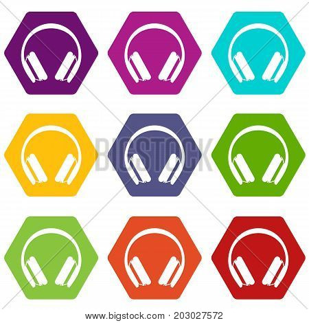 Protective headphones icon set many color hexahedron isolated on white vector illustration