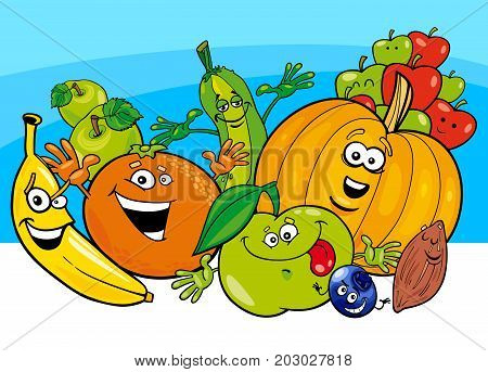 Cartoon Illustration of Funny Fruits and Vegetables Food Characters Group
