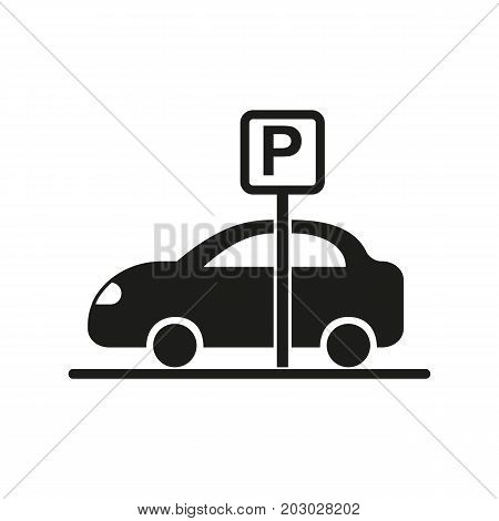 Simple icon of car at parking. Parking lot, roadsign, city. Hotel concept. Can be used for topics like travel, service, transport