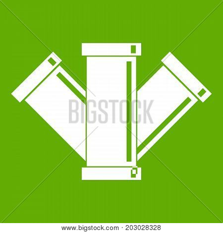Sewerage icon white isolated on green background. Vector illustration