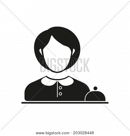 Simple icon of female receptionist and service bell. Hotel reception, check-in, service. Hotel concept. Can be used for topics like travel, tourism, service industry