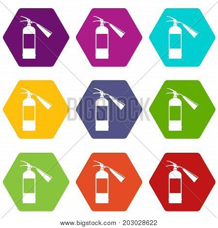 Fire extinguisher icon set many color hexahedron isolated on white vector illustration