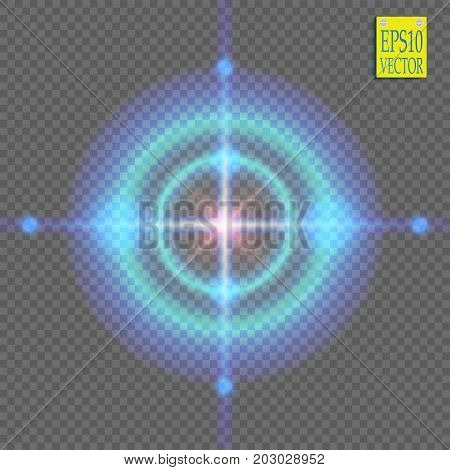 Neon Target isolated. Game Interface Element. Vector