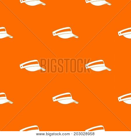 Sun cap pattern repeat seamless in orange color for any design. Vector geometric illustration