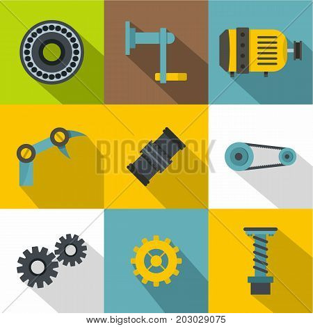 Mechanical gear icon set. Flat style set of 9 vector icons for web design