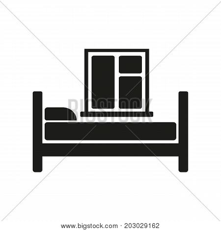 Simple icon of room with bed and window. Motel, hostel, bedroom. Hotel concept. Can be used for topics like travel, tourism, service industry
