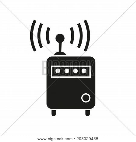 Simple icon of router wi-fi. Internet, radio, wireless technology. Smart technology concept. Can be used for topics like technology, leisure, connection