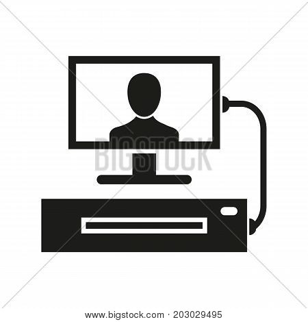 Simple icon of set-top box. DVD player, broadcast, modem. Smart technology concept. Can be used for topics like technology, leisure, entertainment
