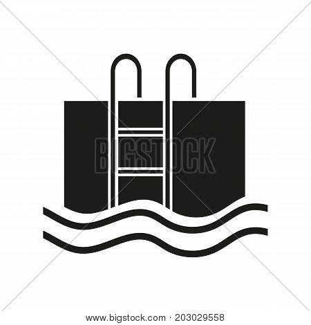 Simple icon of swimming pool. Aqua park, indoor pool, swimming. Hotel concept. Can be used for topics like sport, healthy lifestyle, leisure