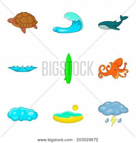 Tide icons set. Cartoon set of 9 tide vector icons for web isolated on white background