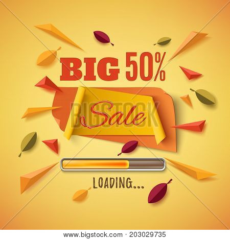 Big sale banner with abstract leafs, loading bar and colorful partikles on orange background. Template for poster or brochure. Vector illustration.
