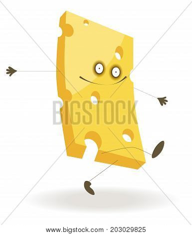 Piece of tasty hard cheese with funny face, bulging eyes, small holes and thin limbs that walks and jumps isolated cartoon vector illustration on white background. Cheerful character from food world.