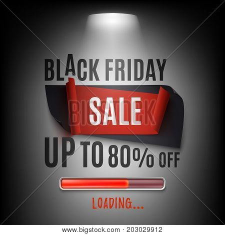 Black friday sale banner. Abstract design with spotlight and loading bar. Poster or brochure template. Vector illustration.