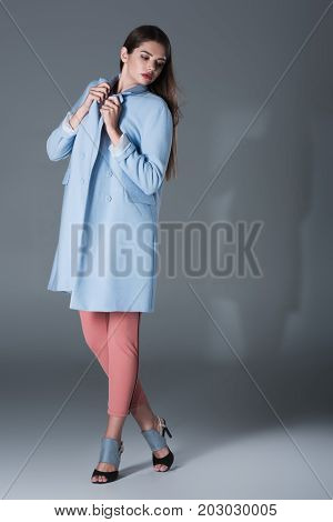 Stylish Girl In Blue Trench