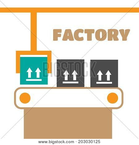 Industrial Conveyor Belt Line Vector Illustration. Conveyor Proc