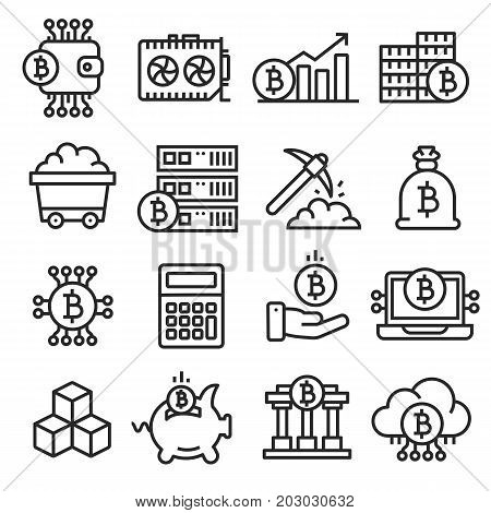 lines icon set bitcoin crypto innovations business