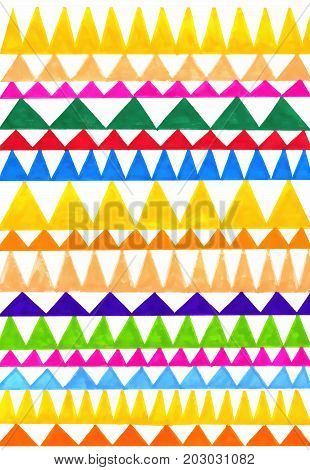 Abstract colorful triangles pattern on white background