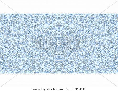 Abstract graphics with blue outline pattern on white background