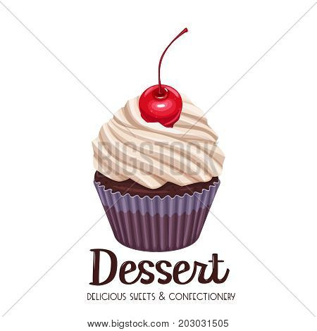 Vector cupcake icon. Illustration dessert confectionery with cherry.