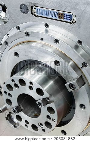 Spindle high-precision CNC milling machine. Abstract industrial background