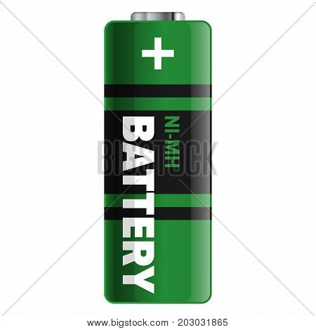 Powerful and compact battery isolated on white background. Qualitative energy container for long time usage of electronic devices. Small galvanic appliance to refill power content vector illustration.