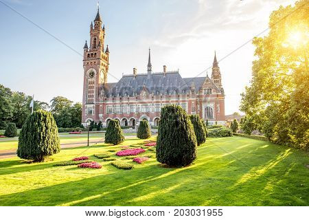 Sunset view on the Peace palace the seat of international law in Haag city, Netherlands