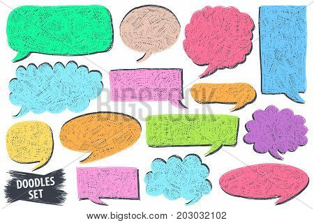 Speech bubble doodles set. Scribble frames collection. Sketch vector. Hand drawn effect illustration. Messages phrases text chat talk or dialog clouds set. Scrawl graphics isolated on white.
