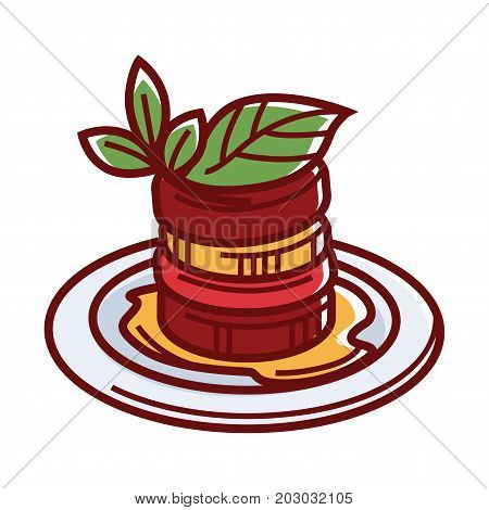 Famous ratatouille with sauce and herbs isolated vector illustration on white background. Traditional vegetable dish of Provencal cuisine made from sweet pepper, ripe eggplant and tasty zucchini.