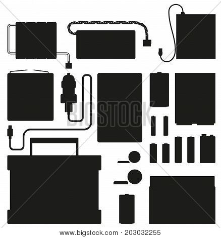 Powerful batteries black silhouettes isolated on white background. Electric appliances to recharge energy for longer usage or make devices run vector illustration. Power containers to restore devices.