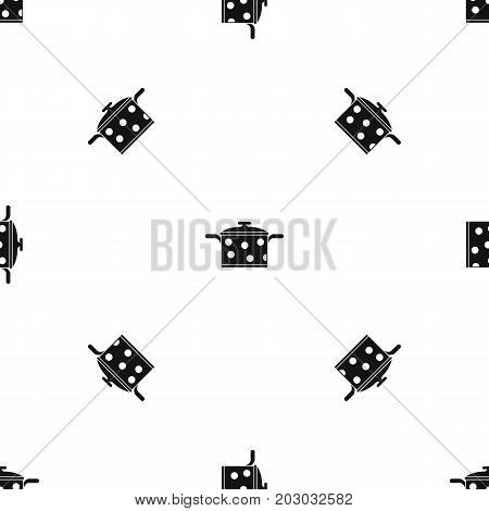Saucepan with white dots pattern repeat seamless in black color for any design. Vector geometric illustration