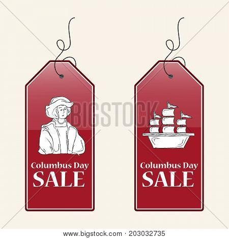 illustration of tags with Columbus Day Sale text on the occasion of Columbus Day