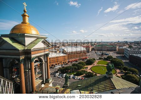 Top view from St.Isaac's Cathedral in St. Petersburg, Russia.