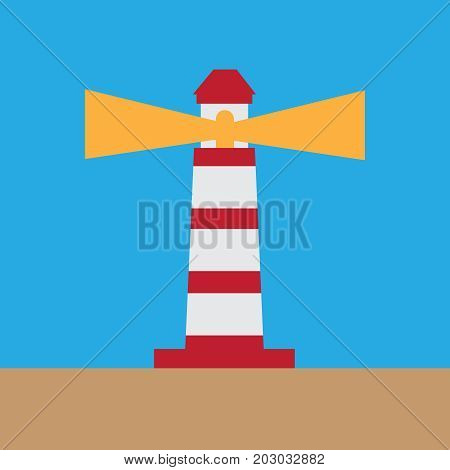 Lighthouse On Ocean Or Sea Beach Cartoon Background Vector Illus