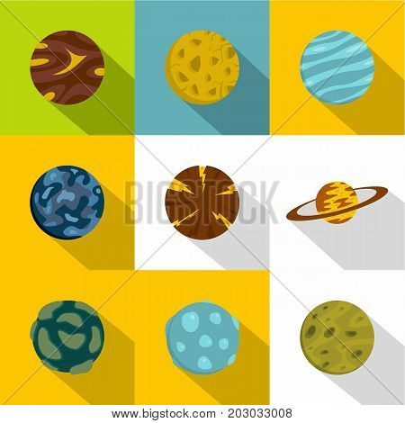 Fantastic planet icon set. Flat style set of 9 fantastic planet vector icons for web design