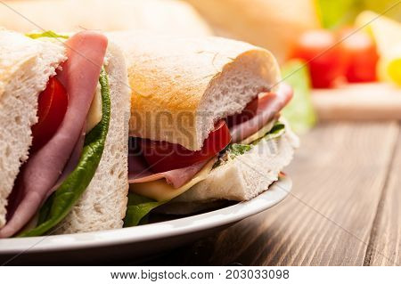 Panini Sandwich With Ham, Cheese And Tomato