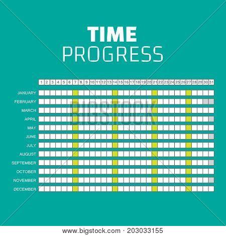 Vector Timeline Progress Graph, Gantt Chart Of Project.