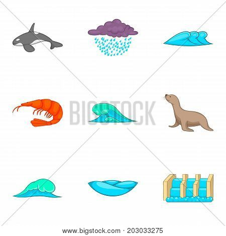 Water bewitched icons set. Cartoon set of 9 water bewitched vector icons for web isolated on white background