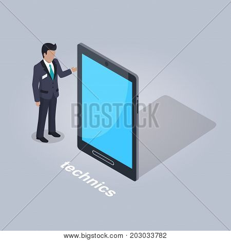 Technics isolated icon. Businessman in suit stands and points on big tablet on grey background. E commerce advertising vector illustration. Modern device for convenient use of shop online apps.