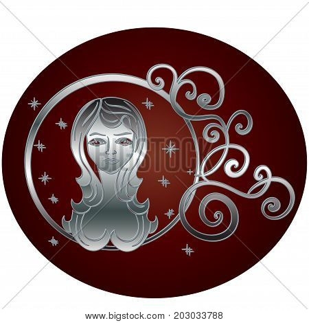 Virgo zodiac sign in circle frame vector Illustration. Contour icon.