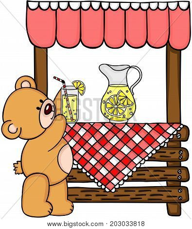 Teddy bear and wooden lemonade stand clipart