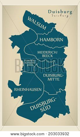 Modern City Map - Duisburg City Of Germany With Boroughs And Titles De