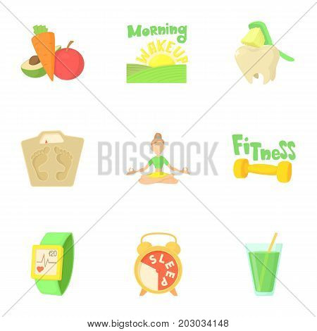 Fitness icons set. Cartoon set of 9 fitness vector icons for web isolated on white background