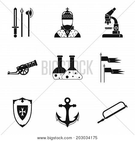 Armament icons set. Simple set of 9 armament icons for web isolated on white background
